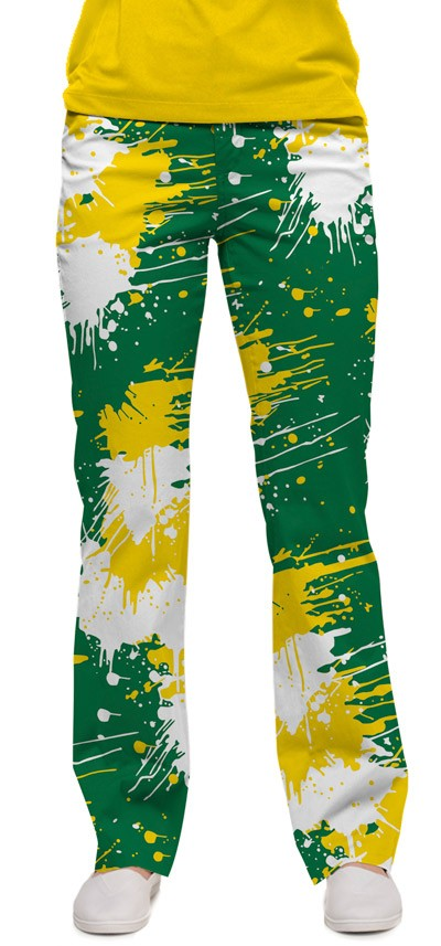 Green & Gold Paint Women's Capri/Pant MTO