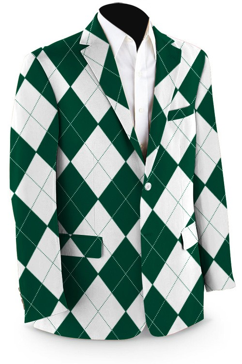 Green & White Argyle Men's Sport Coat MTO