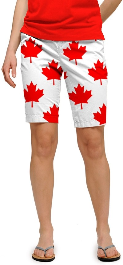 Canada Maple Leaf White StretchTech Women's Bermuda Short MTO