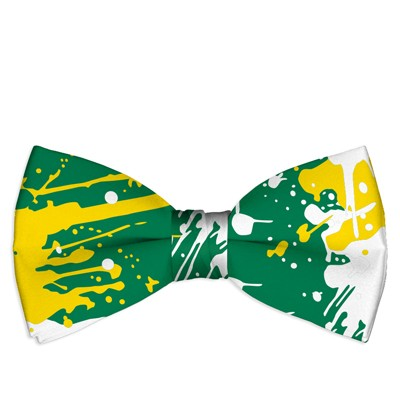 Green & Gold Paint Men's Bow Tie MTO