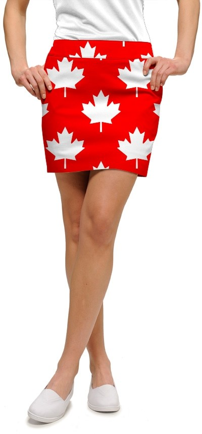 Canada Maple Leaf Red StretchTech Women's Skort/Skirt MTO