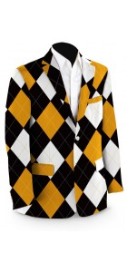 Black & Gold Argyle StretchTech Men's Sport Coat MTO