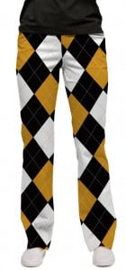 Black & Gold Argyle StretchTech Women's Capri/Trouser MTO