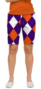 Purple & Orange Argyle StretchTech Women's Bermuda Short MTO